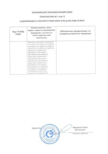 Приложение к Декларации Задвижки лист 2